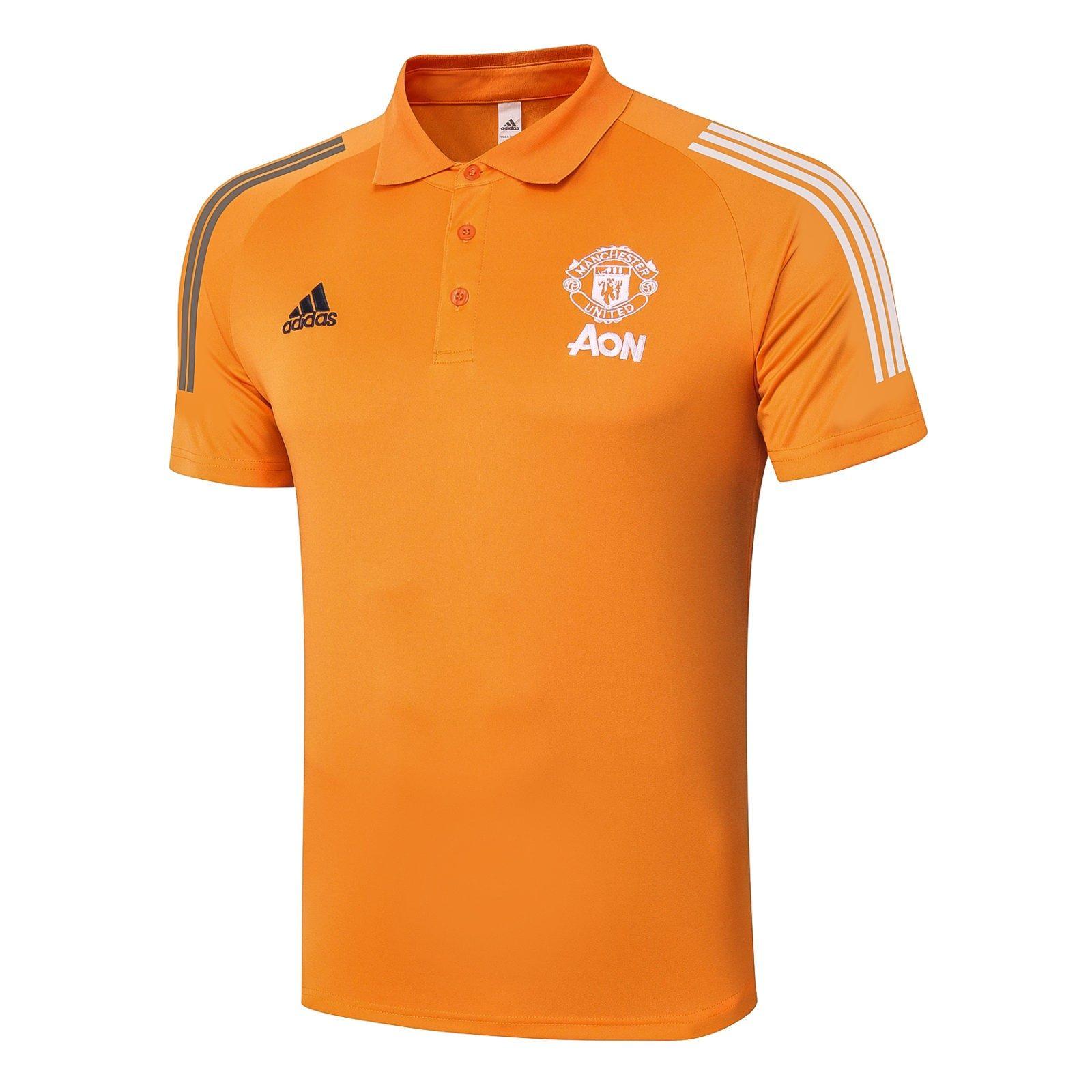 Футболка поло Манчестер Юнайтед сезон 2020-2021 (Оранжевая)