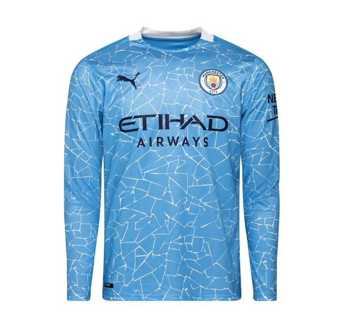 Домашняя футболка Манчестер Сити с длинным рукавом сезон 2020-2021