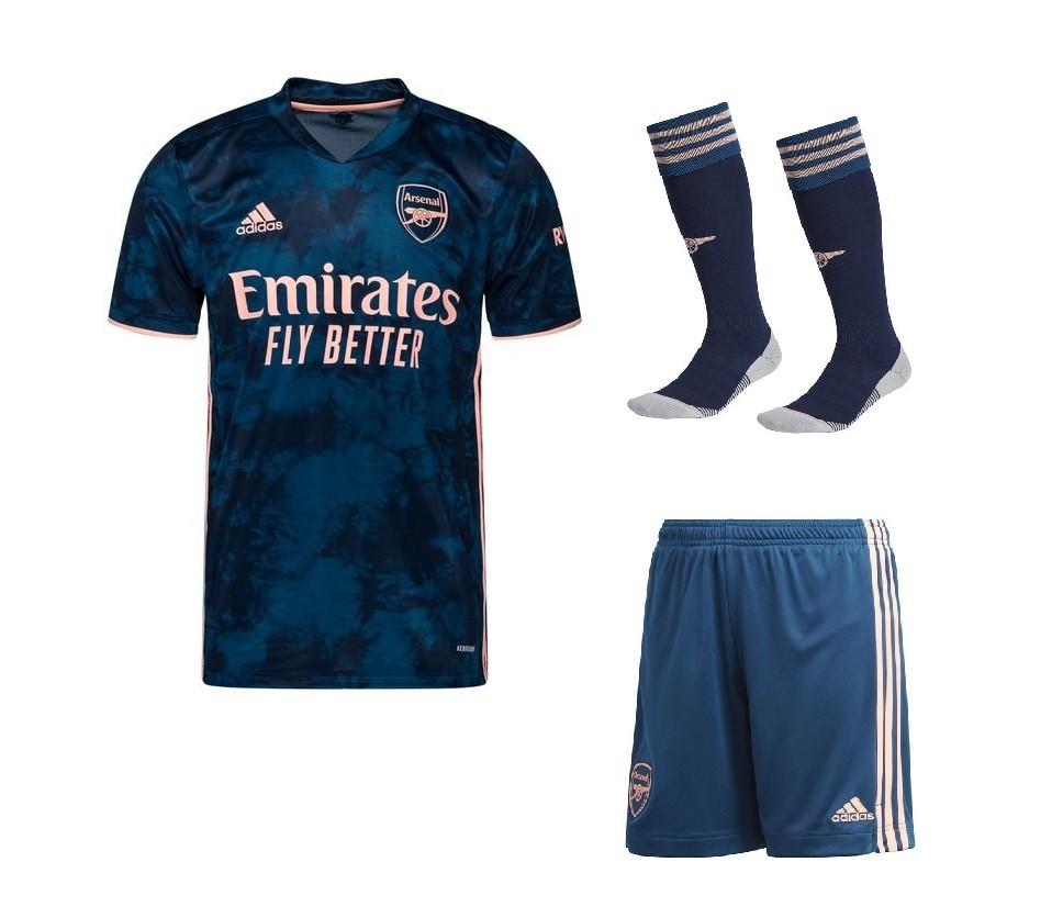 Резервный третий комплект формы Арсенала с гетрами сезон 2020-2021 темно-синий