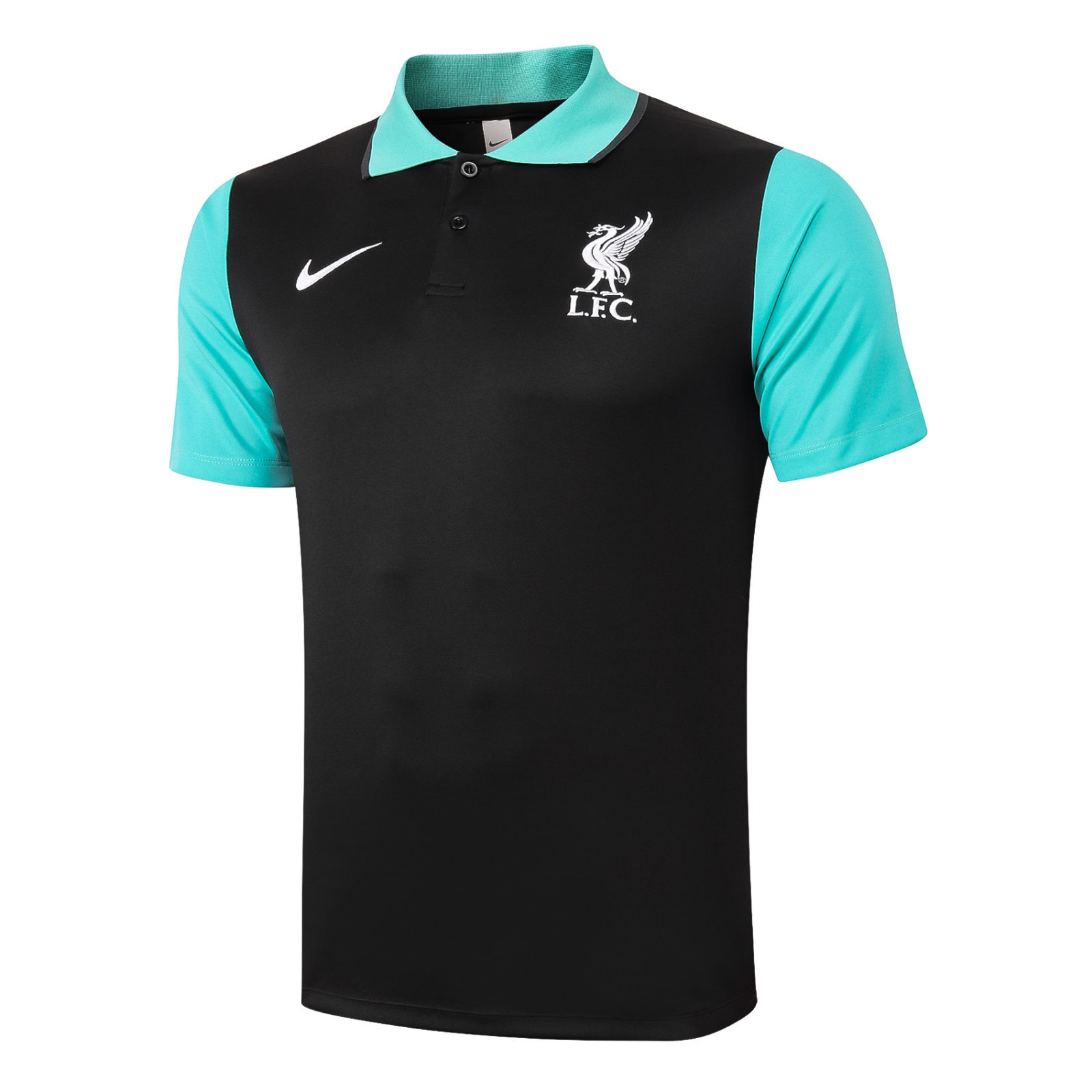 Футболка поло Ливерпуля сезон 2020-2021 (Чёрно-голубая)