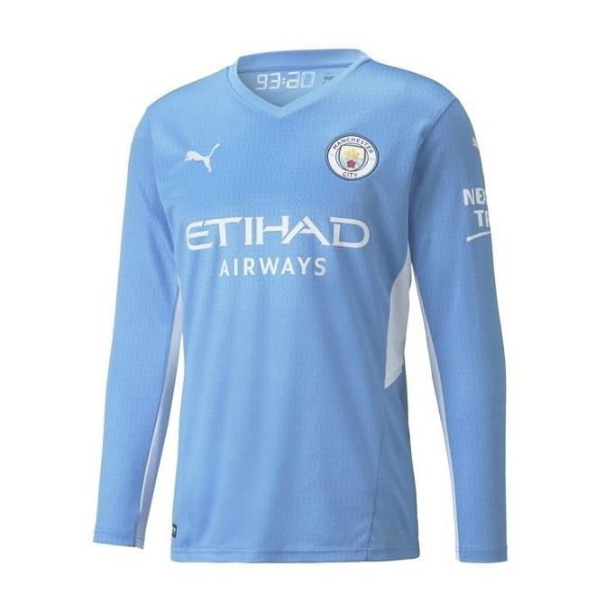 Домашняя футболка Манчестер Сити с длинным рукавом сезон 2021-2022