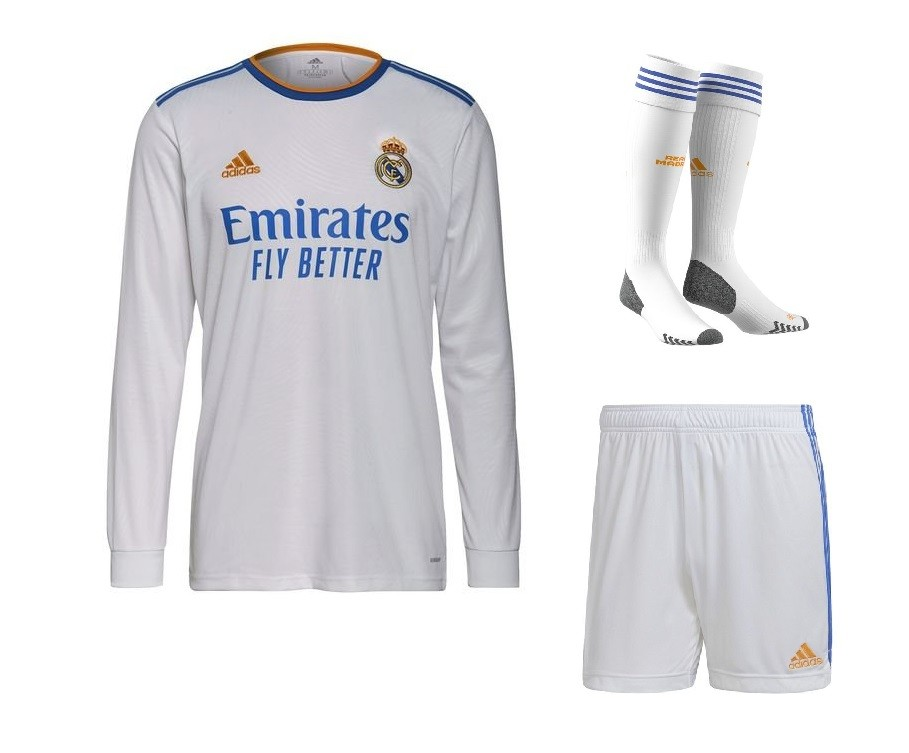 Домашний комплект Реал Мадрид с длинным рукавом сезон 2021-2022